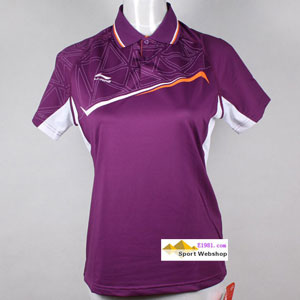 Ladies Badminton Tshirt: li-ning Purple Red Tournament Jersey, Lining AAYH216