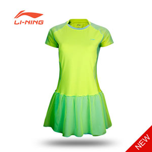 Li-ning Badminton Dress: 2015 Ladies Badminton Siamese skirt short sleeve dress Slim,ASKK038
