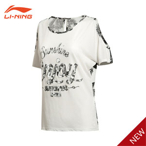 Women Shirt 2015 Li Ning strapless Sports Lifestyle Short-sleeved T-shirt Lining ATSK158