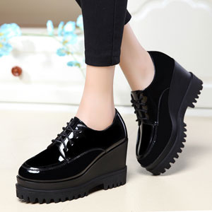 New shallow mouth single shoes women high heels round heavy-bottomed platform shoes 2611-1