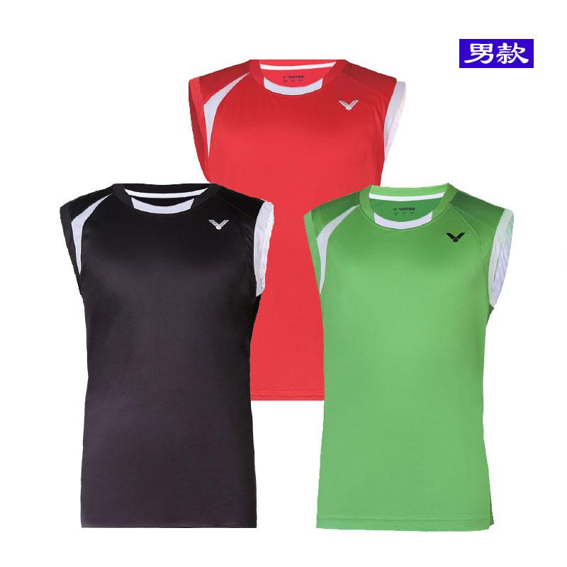 1db8f4893c54e2 VICTOR Badminton Sleeveless Men 2016 Tournament Knitted sleeveless T-shirt  vest T-6019 D ...