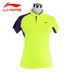 Li Ning Badminton Tshirt Aug 2014 Women Tournament Badminton Tops Lining AAYJ158-1-2