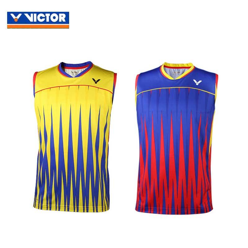 91416ac652b9b6 Victor Badminton Sleeveless Jersey 2016 Brazil Olympics Malaysia Men  T-shirt VICTOR T-6505
