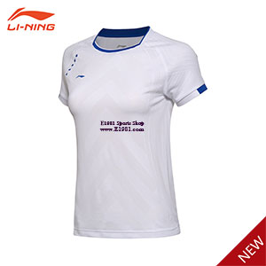 Women Badminton Jersey 2017 Li-Ning All England Badminton Tournament T-shirt Lining AAYM012-1-2