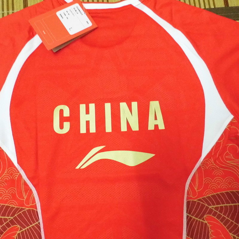 2016 China Badminton Team Jersey Li-ning Red Size L Badminton T-shirts Lining CP