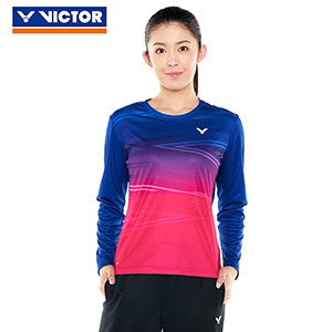 Victor Badminton Sweater 2018 Women Round Neck Long-Sleeved Badminton T-shirt Victor T-86101