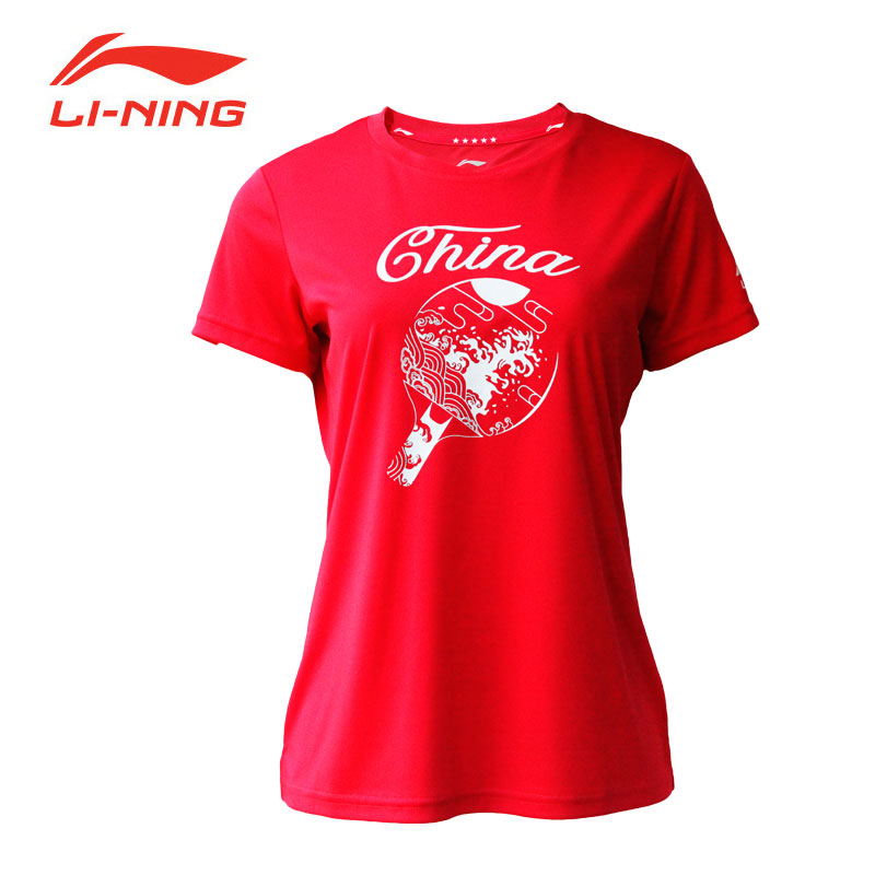 2019 Li-Ning PingPong Training Cultural Shirt Women Table Tennis T-shirt Lining AHSP158