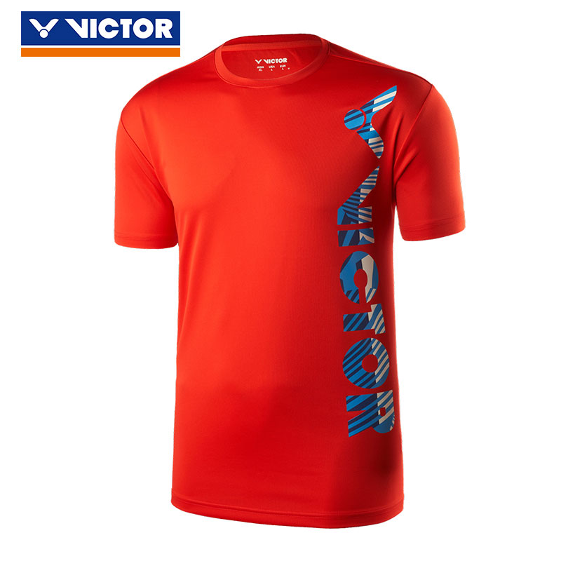Victor Badminton T-shirt: 2019 Men Badminton Short Sleeve Jersey, Victor T-90027