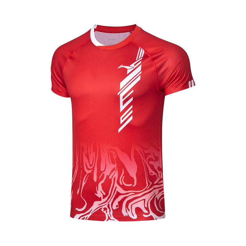 Li-ning Badminton T-shirt: 2019 Men Badminton Jersey One-piece fabric, Li ning AAYP323