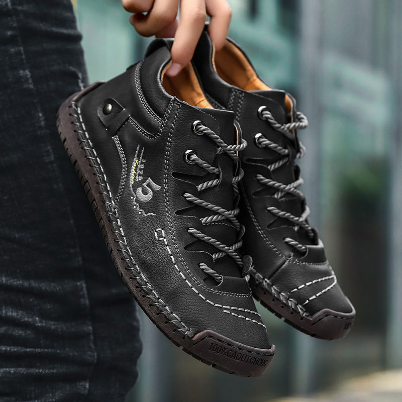 2019 Men Shoes handmade casual leather shoes wear-resistant non-slip fashion men´s shoes High-top 9926