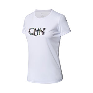 Women Table Tennis Cultural Shirt Li Ning Quick-drying short-sleeved Table Tennis T-shirt Li-ning AHSN748-1