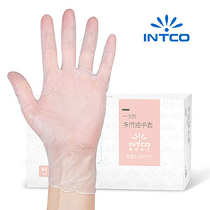 INTCO disposable gloves latex inspection cross protection home dining kitchen food isolation PVC gloves 100 pieces