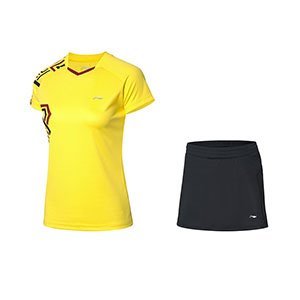 Li ning Badminton Tshirt Short skirt 2020 Li Ning Women Badminton Short-sleeved T-shirt Set Li-ning AATQ064