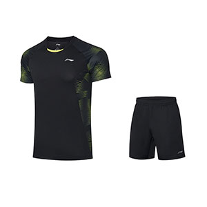 Li ning Badminton Tshirt shorts October 2020 Li Ning Men Badminton Short-sleeved T-shirt Set Li-ning AATQ111