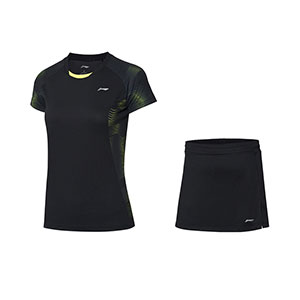 Li ning Badminton Tshirt Short skirt October 2020 Li Ning Women Badminton Short-sleeved T-shirt Set Li-ning AATQ112