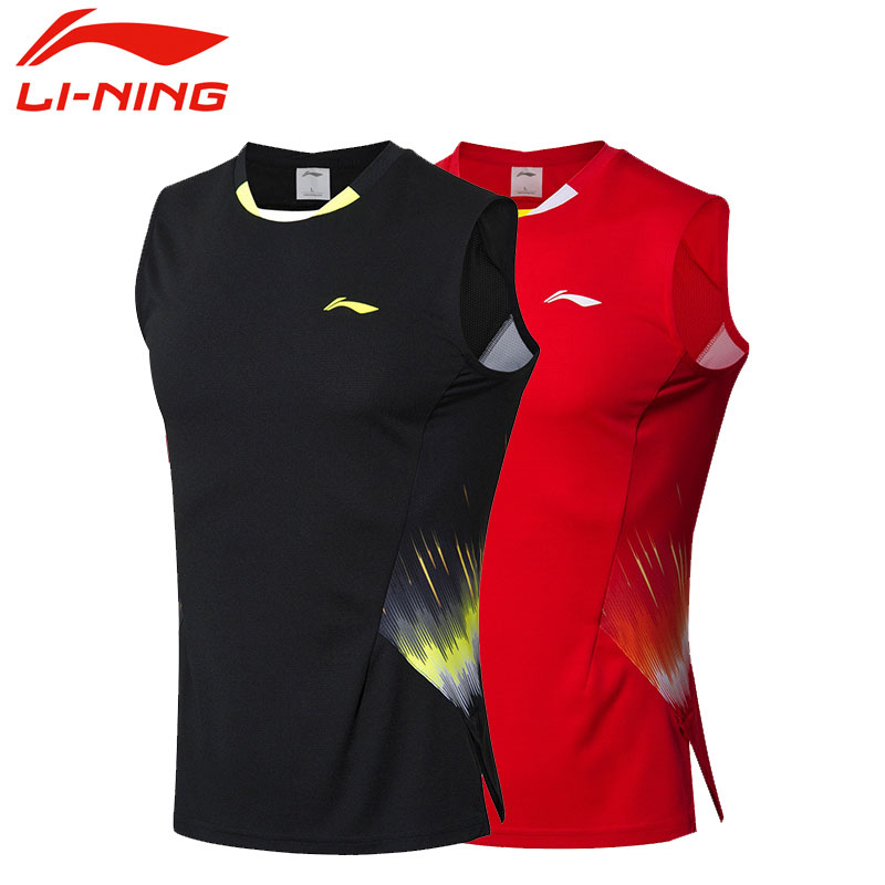 2018 Li-ning Badminton Asian Championships Men Badminton Jersey Sleeveless, Li-ning AVSN291