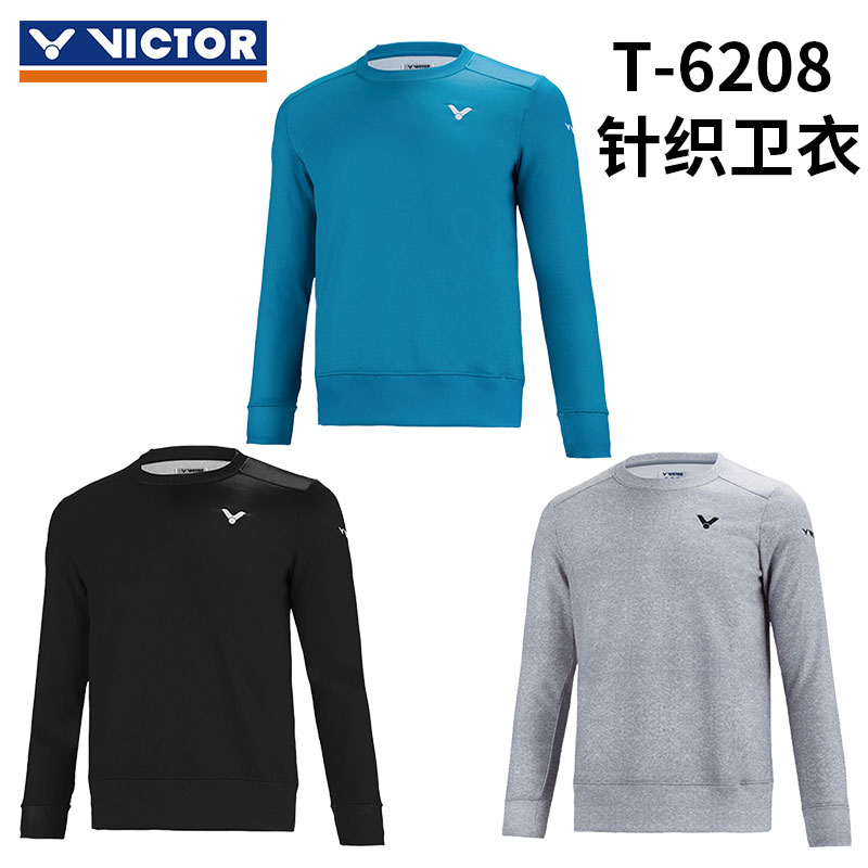Victor Long-sleeved T-shirt October 2016 Round Neck Thick Long-sleeved T-shirt Badminton Victor T-6208 C/H/G